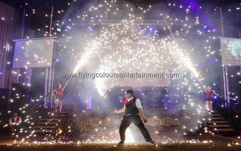 Pyrotechnics in Fire Show